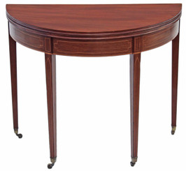 Regency inlaid mahogany folding card tea table