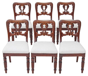 Set of 6 William IV dining chairs carved mahogany