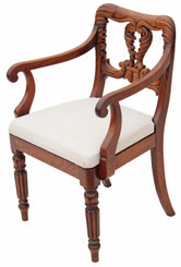 William IV elbow desk chair carved mahogany