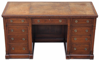 Victorian aesthetic inlaid walnut twin pedestal desk
