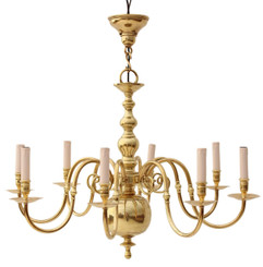 8 lamp polished brass chandelier Flemish