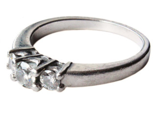 Platinum 950 diamond 3 stone ring 0.50ct
