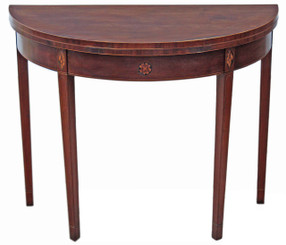Regency inlaid mahogany folding card console table