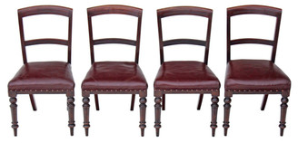 Set of 4 Victorian mahogany leather dining chairs