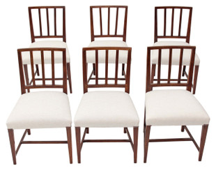 Antique rare set of 6 Georgian dining chairs mahogany