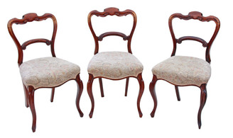 Set of 3 Victorian rosewood dining chairs