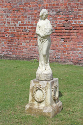Large weathered patinated faux stone concrete statue