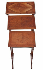 Edwardian nest of 3 beech and mahogany side or occasional tables