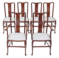 Set of 6 (4 + 2) inlaid mahogany Queen Anne dining chairs