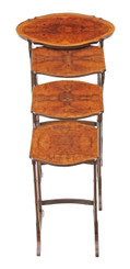 Nest of 4 burr walnut side or occasional tables