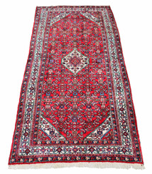 Persian Hamadan hand woven wool rug carpet red