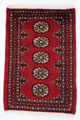 Persian Royal Mori Bokhara hand woven wool rug red