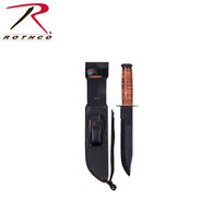 Rothco Military Fighting Utility Knife With Leather Handle