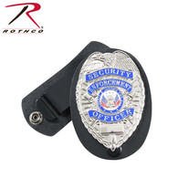 Rothco Leather Clip-On Badge Holder with Swivel Snap