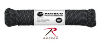 Rothco Polyester Paracord - Black with Reflective Tracers