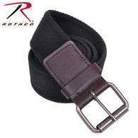 Rothco Vintage Single Prong Web Belt With Leather Accents