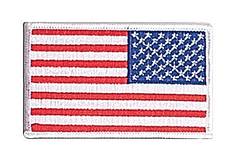 Military Woodland Green and Black Reverse Iron On American US Flag Patch BDU