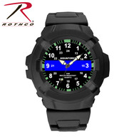 Aqua Force Thin Blue Line Police Officer Rugged Pu Rubber Watch (50m Water Resistant)