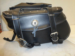 Motorcycle Saddlebags for Dyna Harley Honda Yamaha Kawaski LEATHER BLACK
