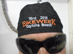 Skull Cap Head Wrap Du-Rag 2 DAYTONA BIKE WEEK 2015 Black Denim  Harley