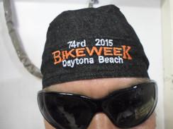 Skull Cap Head Wrap Du-Rag DAYTONA BIKE WEEK 2015 Black Denim  Harley