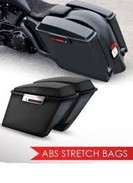 "4"" Stretched GLOSS Black ABS Extended Saddlebag Kit - Bags, Lids, Hardware, & Locks"