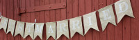 "PS12 - ""Just Married"" Burlap Banner"