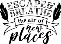 Escape Breathe the air of new places Red Rubber Stamp