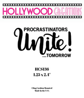Procrastinators Unite Red Rubber Stamp