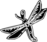 Dragonfly Red Rubber Stamp