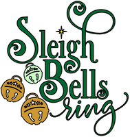 Sleighbells Ring Red Rubber Stamp