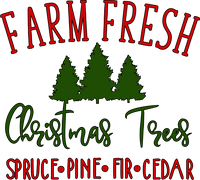 Farm Fresh Christmas Trees Red Rubber Stamp