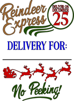 Reindeer Express Red Rubber Stamp