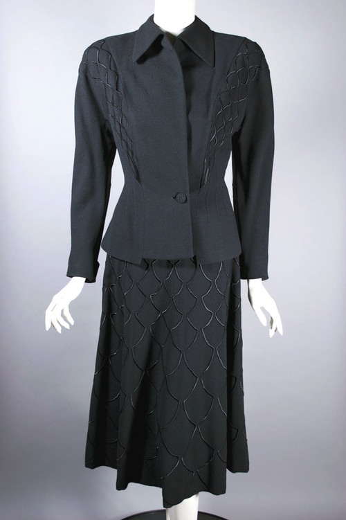 Early 1950s skirt suit black wool cocktail suit satin trim S 36 bust 26 waist