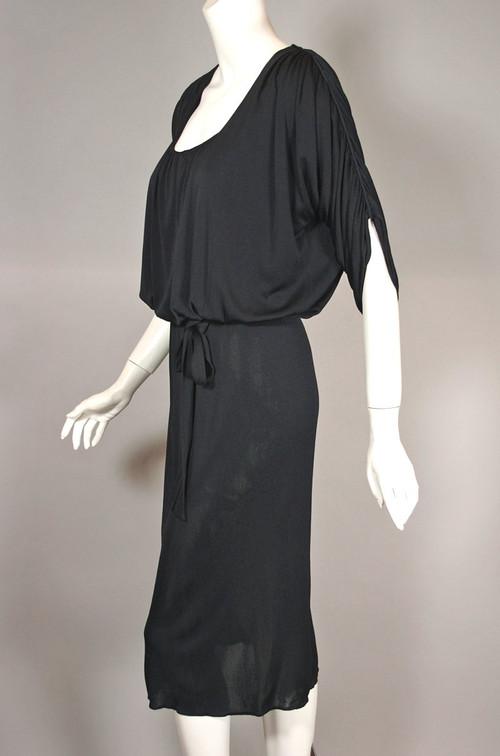 vintage Becky Bisoulis draped black jersey 1980s dress size XXS