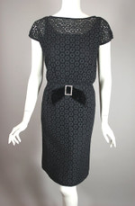 1960s cocktail dress black eyelet lace rhinestone trim XS S 27 waist