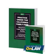 MANDABACH'S PRACTICE UNDER THE CALIFORNIA FAMILY CODE: DISSOLUTION, LEGAL SEPARATION, NULLITY (2017) 9780762625086