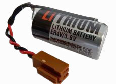 Toshiba ER4V/3.6V PLC Battery - 3.6V Lithium (2 Pin Orange Connector)