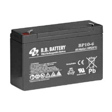 "B.B. Battery BP10-6 (.187"") - 6V 10Ah AGM - VRLA Rechargeable Battery"