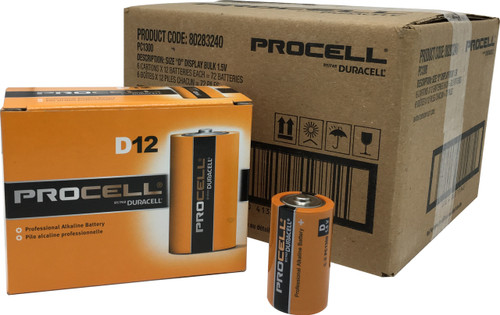 Duracell Industrial D Cell Batteries - LR20 - ID1300 - Case of 72