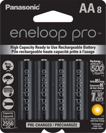 Panasonic eneloop pro AA Rechargeable Batteries - 8 Pack