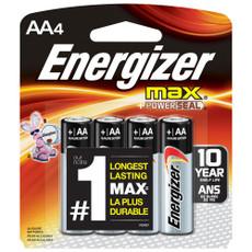 Energizer Max AA Alkaline Batteries - 4 Pack - E91BP-4 (48 Pieces)