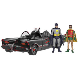 Batmobile  with Batman & Robin: Funko Action Figure x Batman Classic Series Mini Action Figure Set