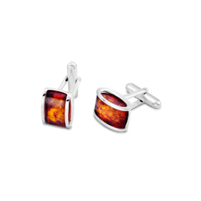 House of Amber - CUFF LINK SILVER W/AMBER 15x9MM
