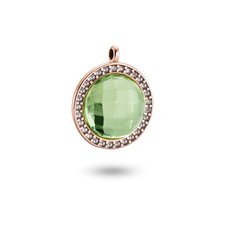 House of Amber - SILVER ROSA PLATED W/AMBER GREEN & TOPAZ PENDANT