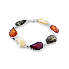 House of Amber - BRACELET SILVER W/AMBER MIX 7 SECTION