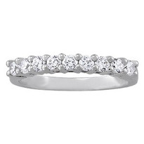 1.00ct Diamond Prong Set Wedding Band set in 14k White Gold