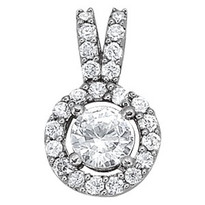 14k White Gold Diamond Halo Pendant (.65cts apx.)