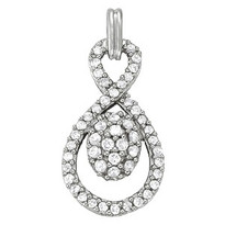 .52ct T.W. Diamond Cluster Pendant set in 14k White Gold