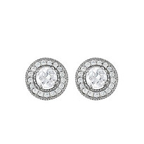 Diamond Halo Earring set in 14k White Gold (.76ct tw.)